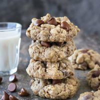 A stack of 4 of My favorite gluten-free oatmeal chocolate chip cookies.