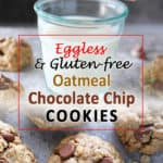 Made with just twelve ingredients, these Easy Eggless Oatmeal Chocolate Chip Cookies are a delicious way to chase away that afternoon slump.