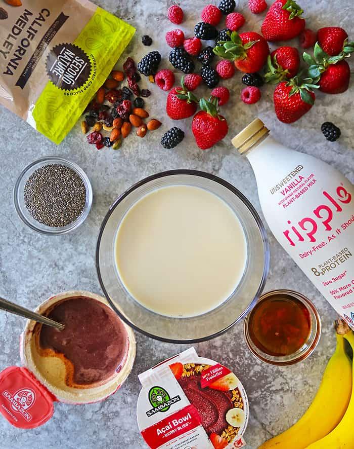 ingredients to make dairyfree acai chia pudding