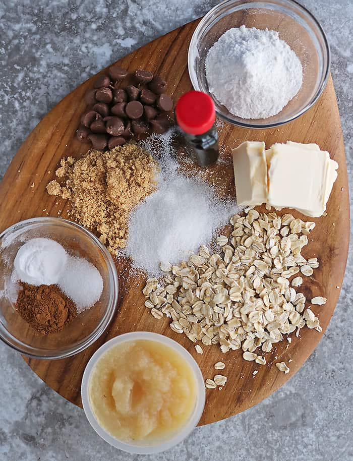ingredients to make eggless oat chocolate chip cookies