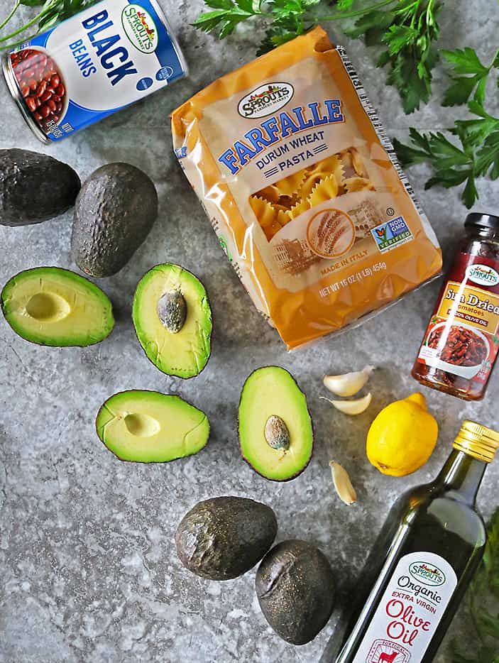 Avocados and Other Ingredients From Sprouts to make Avocado Sundried Tomato Pasta Salad