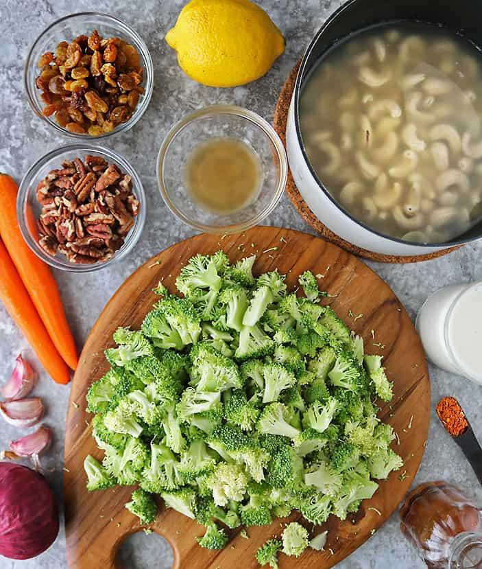 12 ingredients to make healthy vegan broccoli salad