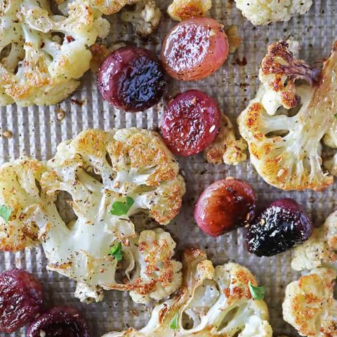 Delicious Roasted Cauliflower and Grapes