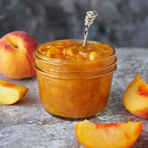 Easy peach chutney - a gluten-free dairy free recipe that can be made in 10 minutes.