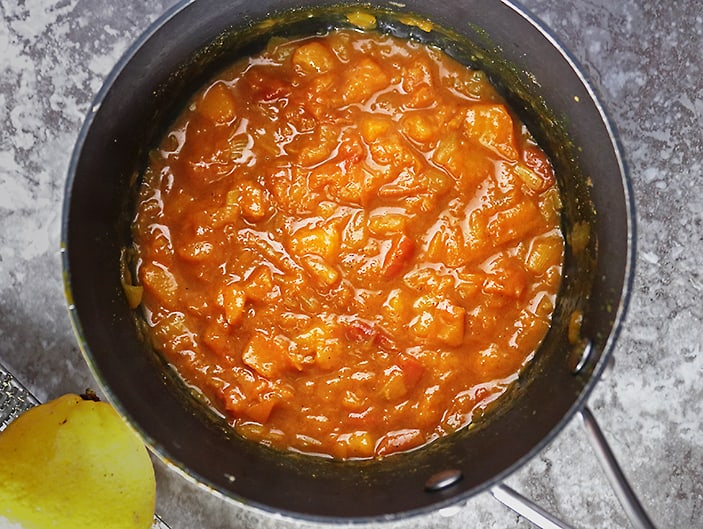 Just cooked peach chutney with a bit of lemon zest