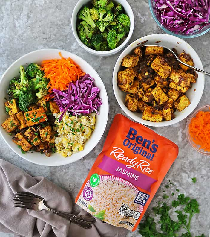 Quick easy and tasty Fried rice tofu bowls with Bens Original Ready Rice.