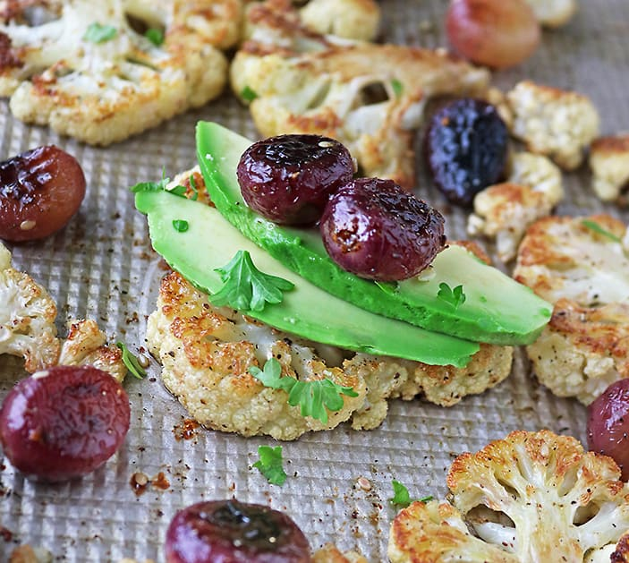 Roasted Cauliflower and Grape appetizers