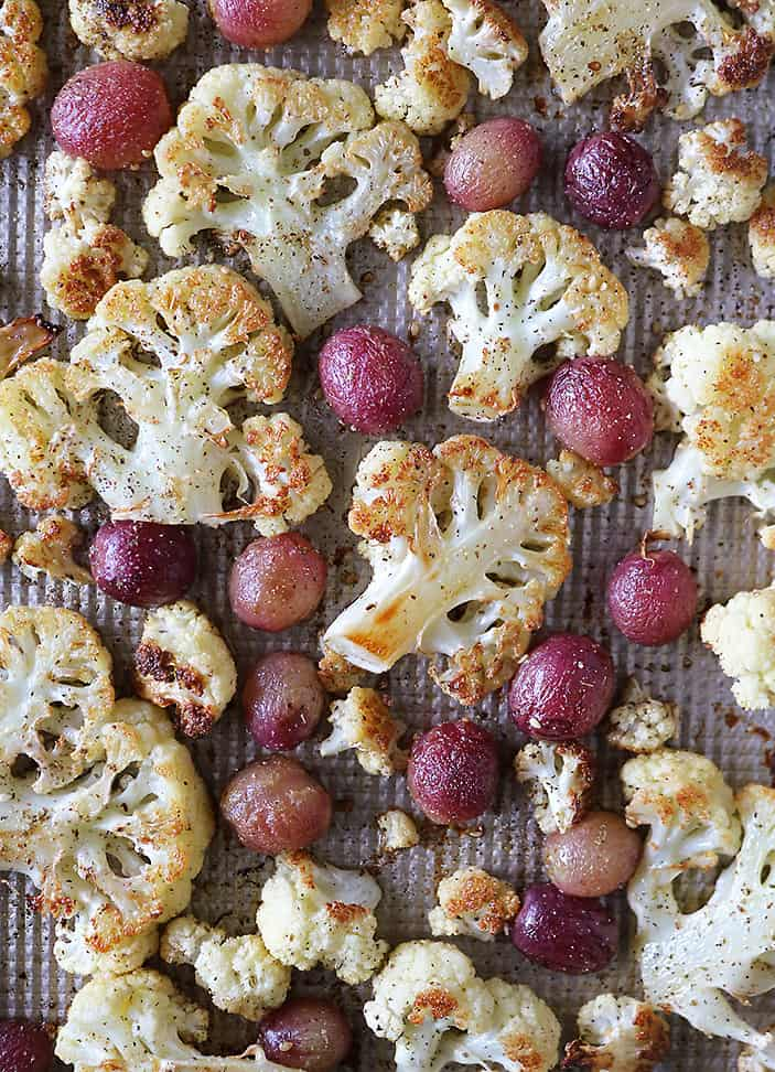 Roasted Cauliflower and Grapes with Zataar