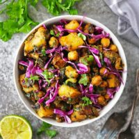 Tasty Easy One Pot Chickpea Potato Spinach Sauté in a large bowl.