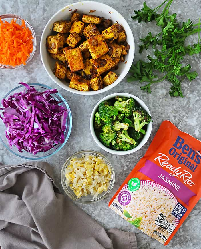 components of tofu fried rice bowls