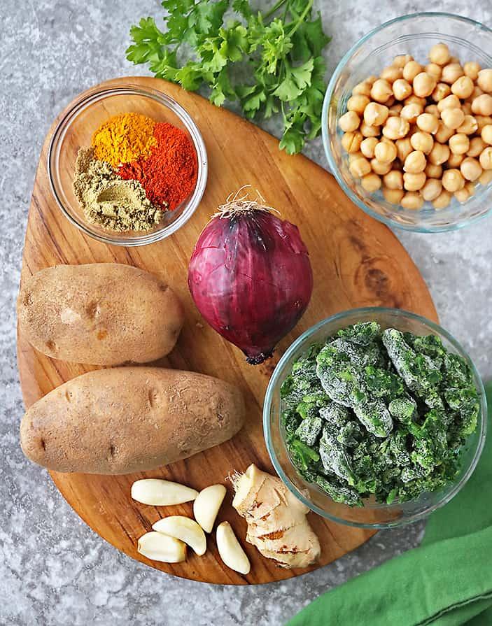 ingredients to make one pot potato chickpea saute.