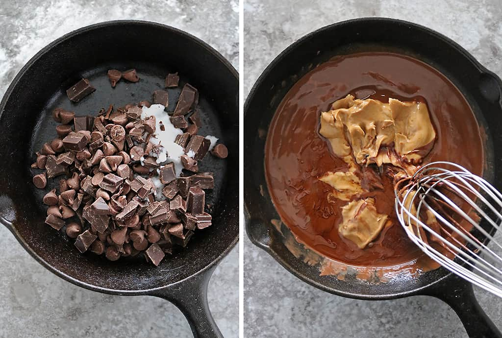 Beginning steps to make choclate peanut butter skillet cake