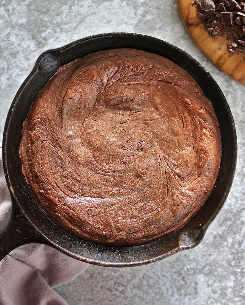 Delicious easy gluten free chocolate skillet cake