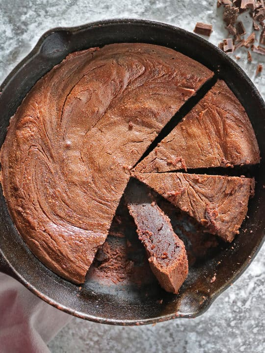 Delicious easy grain-free chocolate peanut butter skillet cake.