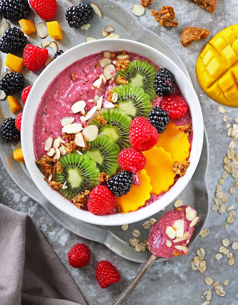 Delicious plant based Berry Oatmeal Smoothie in a Bowl