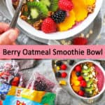 Easy Berry Oatmeal Smoothie Bowl