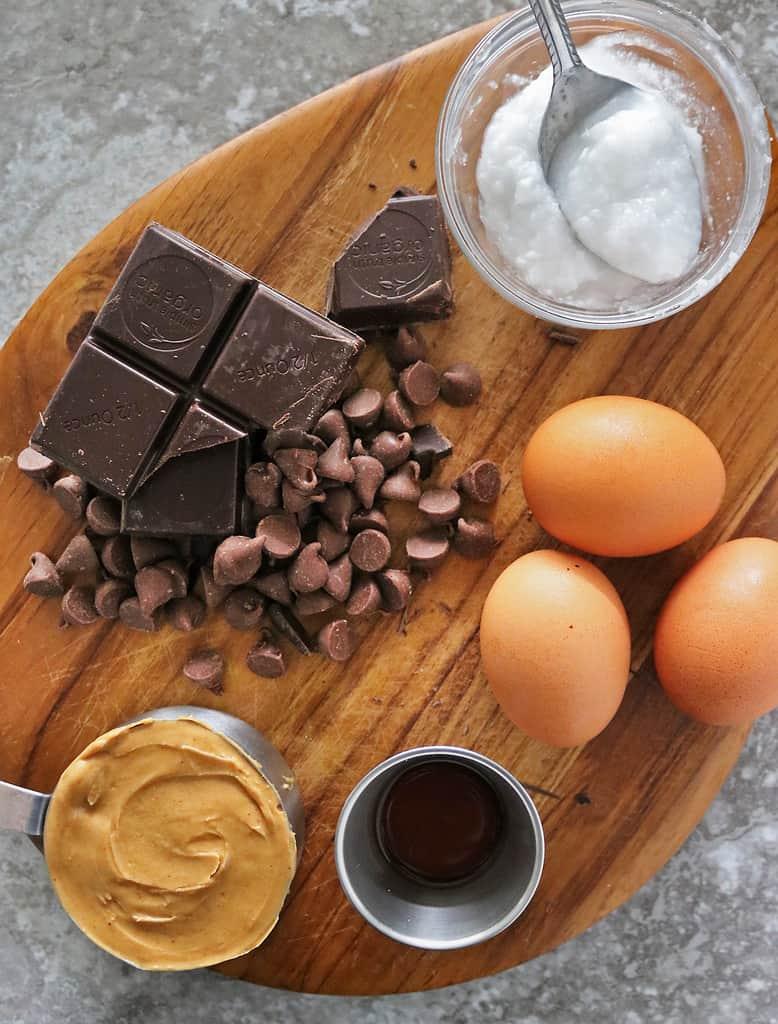 Ingredients to make chocolate skillet cake