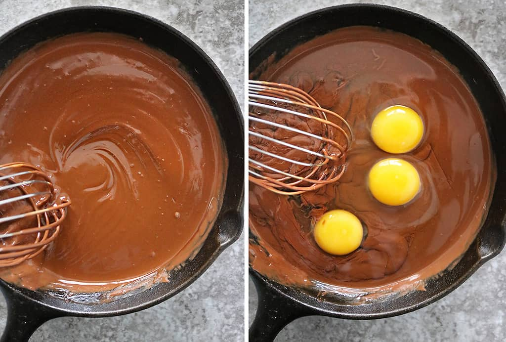 Next steps just before putting this skillet cake in the oven