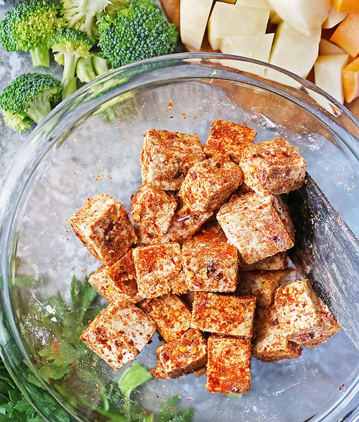 Tofu seasoned with spices and arrowroot powder for the best crispy baked tofu.