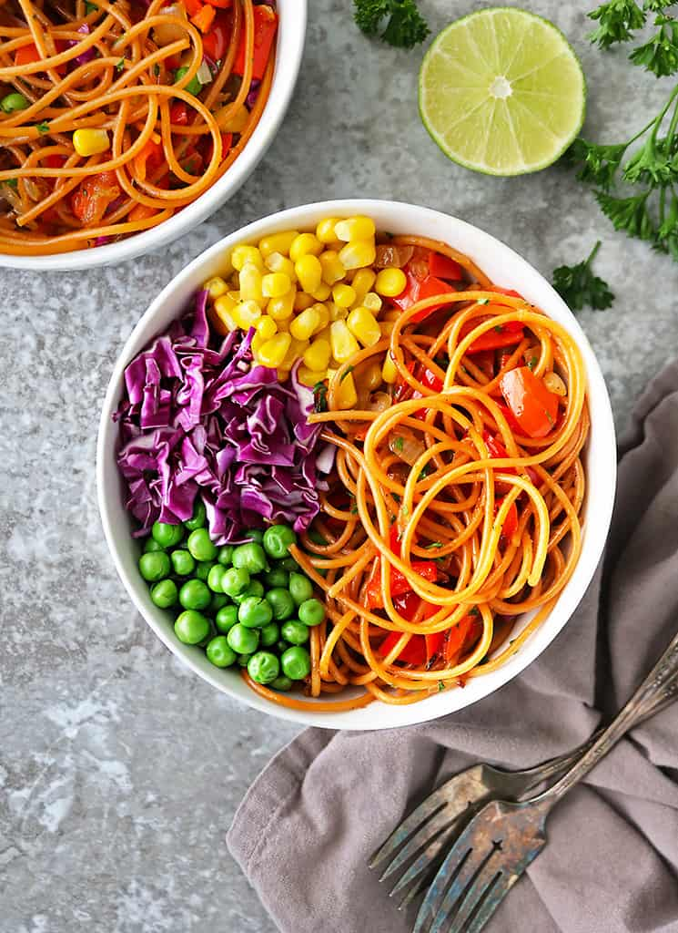 homemade red pepper pasta bowls