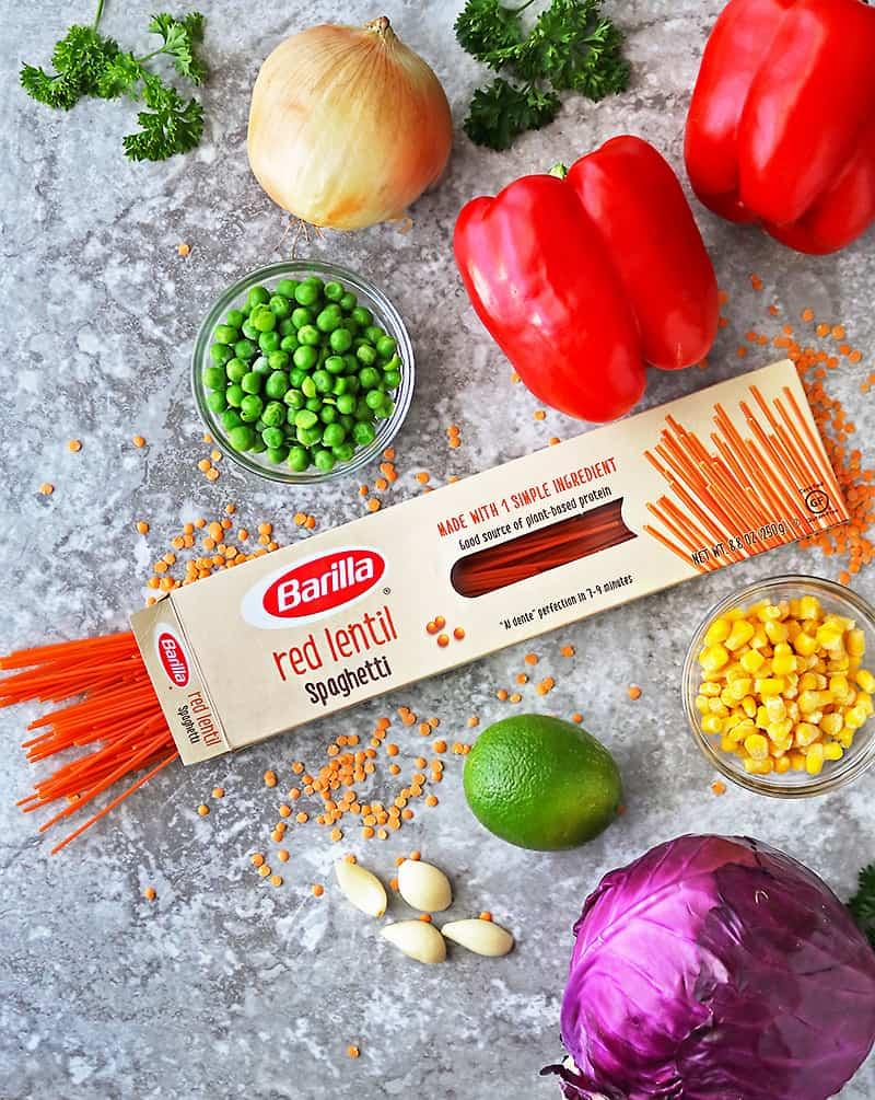 ingredients to make red pepper pasta bowls