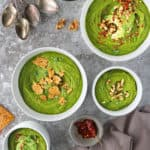 Easy Kale Soup With Echinacea and toppings